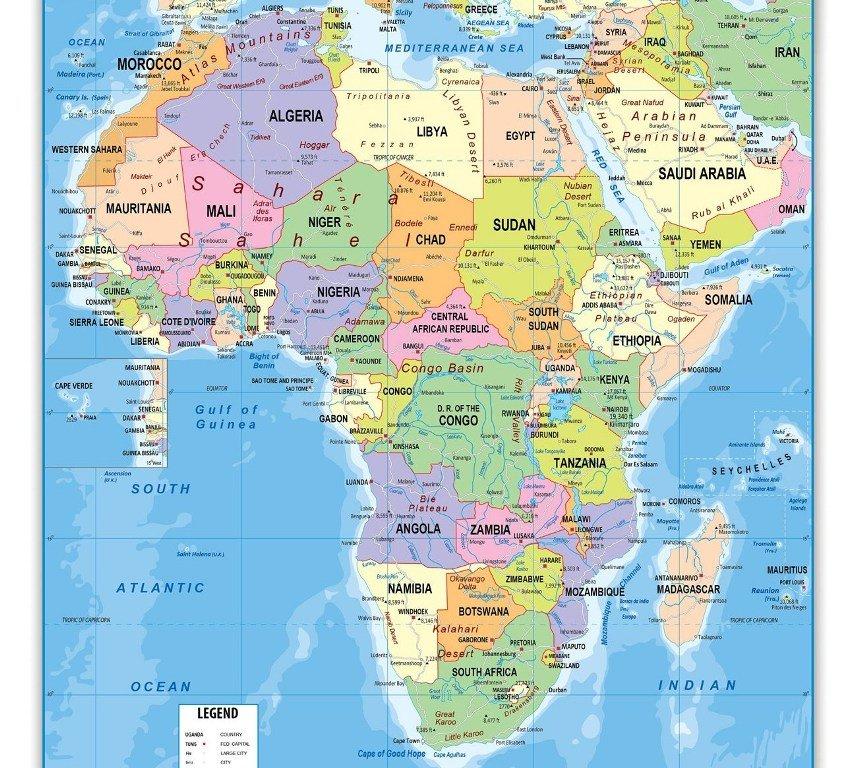 Карта Африки на английском языке