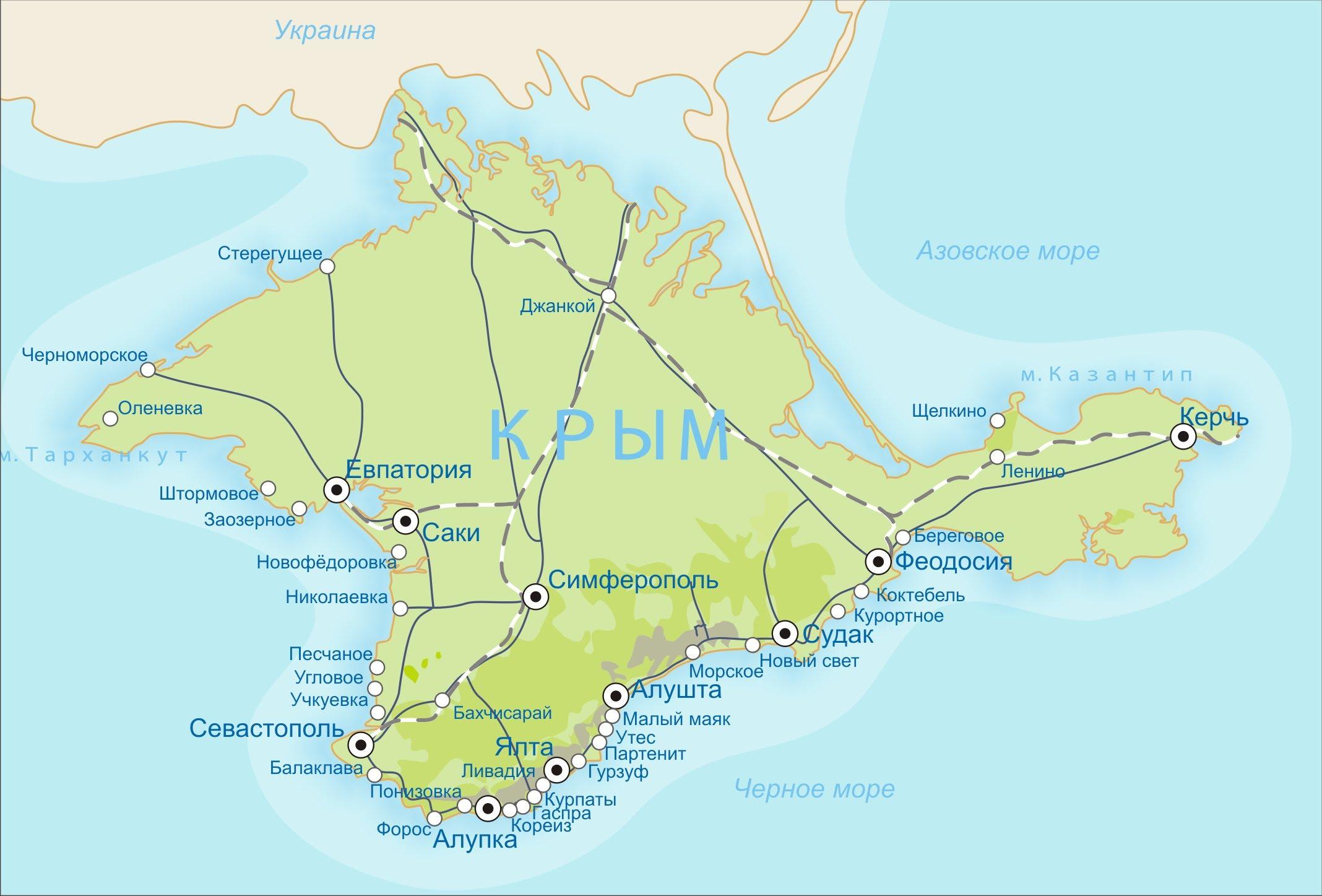 Карта крыма с поселками и городами