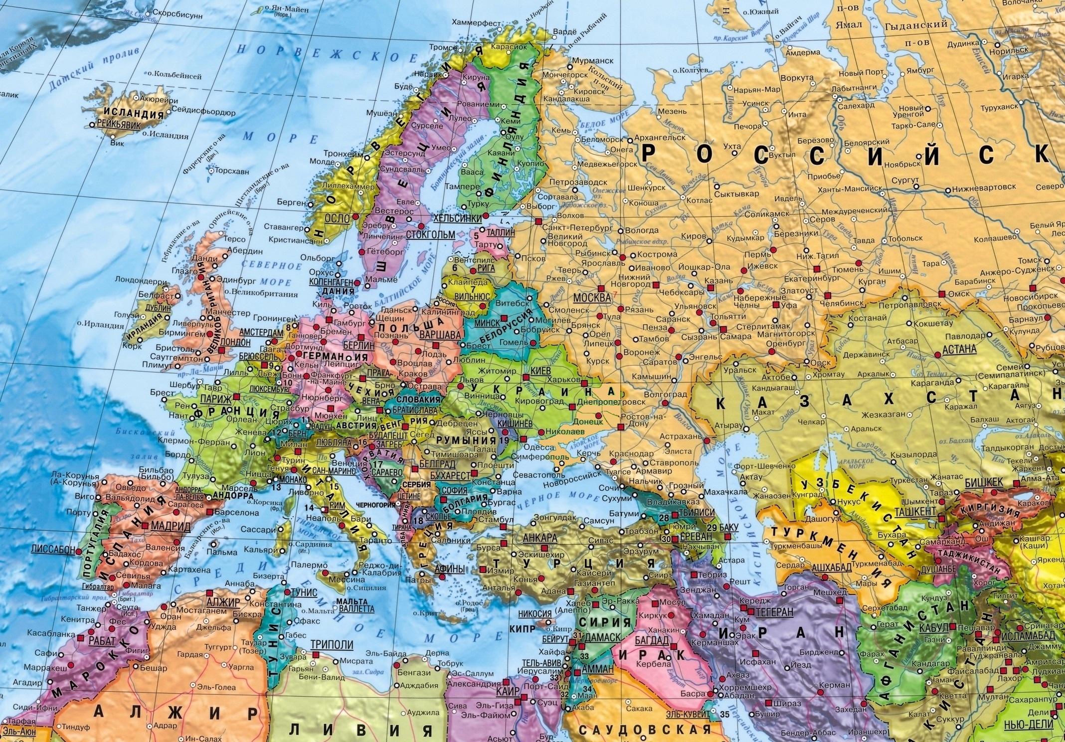 Karta Evropy Evropa Na Karte Mira Onlajn