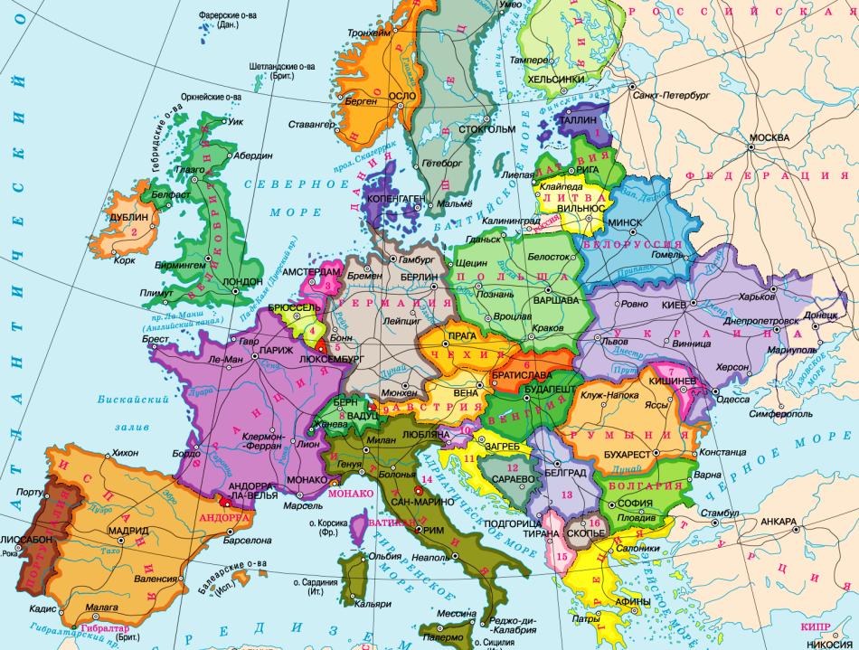 Карта Европы со странами и столицами на русском языке крупно