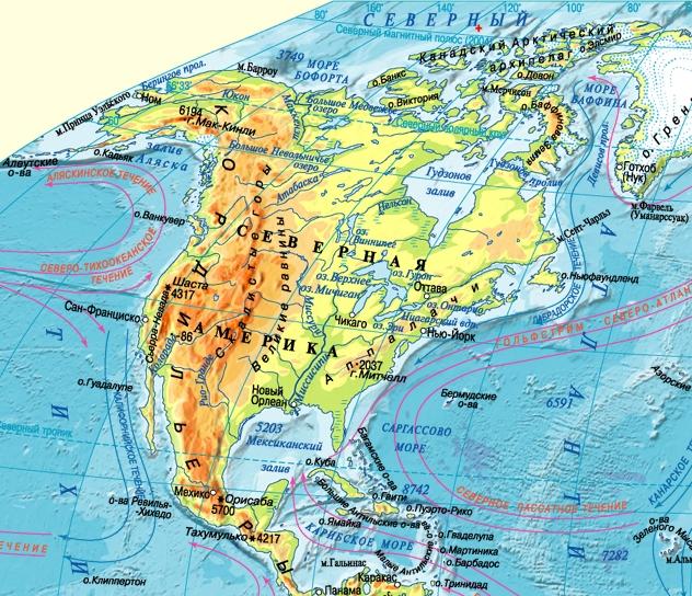 Физическая карта Северной Америки крупным планом