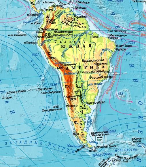 Физическая карта Южной Америки крупным планом