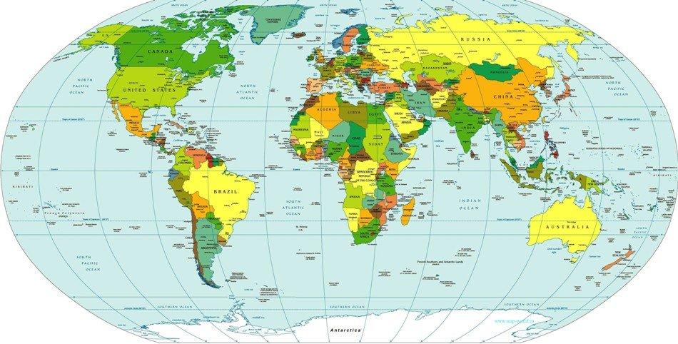 политическая карта мира на английском языке